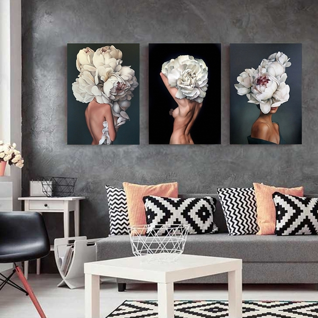 Flowers Feathers Woman Abstract Canvas Painting Wall Art Print Poster Picture Decorative Painting Living Room Home Decoration 2