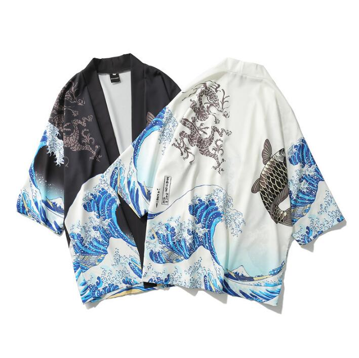 Woman Man Print Coat Japanese Kimono Summer Cardigan Kimono Yukata Woman Thin Outer Garment