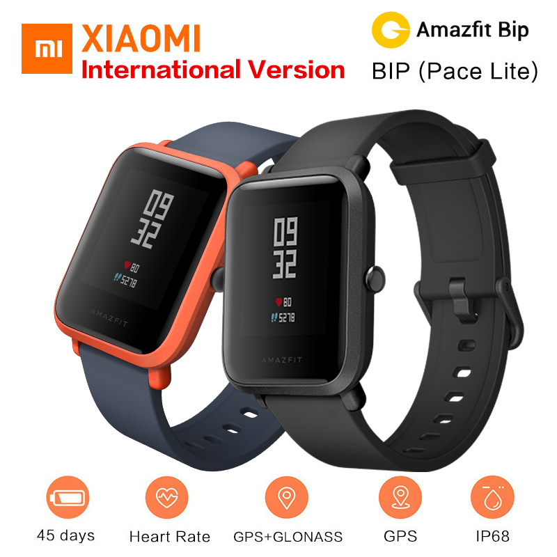 Xiaomi Amazfit Bip Smart Watch [English Version] Huami Pace Lite GPS Smartwatch Men Heart Rate Monitor 45 Days Battery Life IP68 huami amazfit heart rate smartband