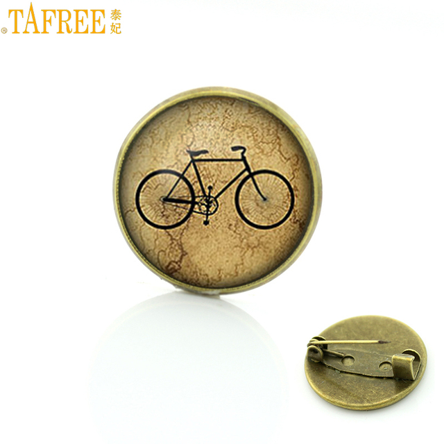 TAFREE Brand 2017 new vintage Bicycle Bike brooches casual sports style love cycling badge pins men women cyclist jewelry SP440