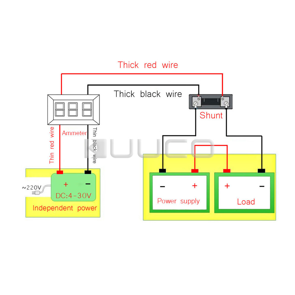 medium resolution of 100a current tester 0 56 red led ammeter dc 12v 24v digital meter ampere meter resistive shunt in instrument parts accessories from tools on