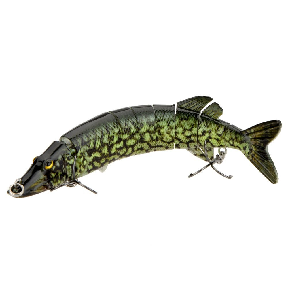 20cm 40g Lifelike Multi-jointed 8-segement Pike Muskie Fishing Lure Swimbait Crankbait Hard Bait Fish Hook Tackle ArmyGreen spot tsurinoya fishing lure minnow hard bait swimbait mini fish lures crankbait fishing tackle with 2 hook 42mm 3d eyes 10 colors set