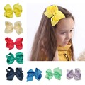 "5Pcs 4"" Baby Solid Grosgrain Ribbon Hair Bow With Clips Infant Girl Hair Bows Boutique Hair Bows For Girls Baby Hair Accessories"