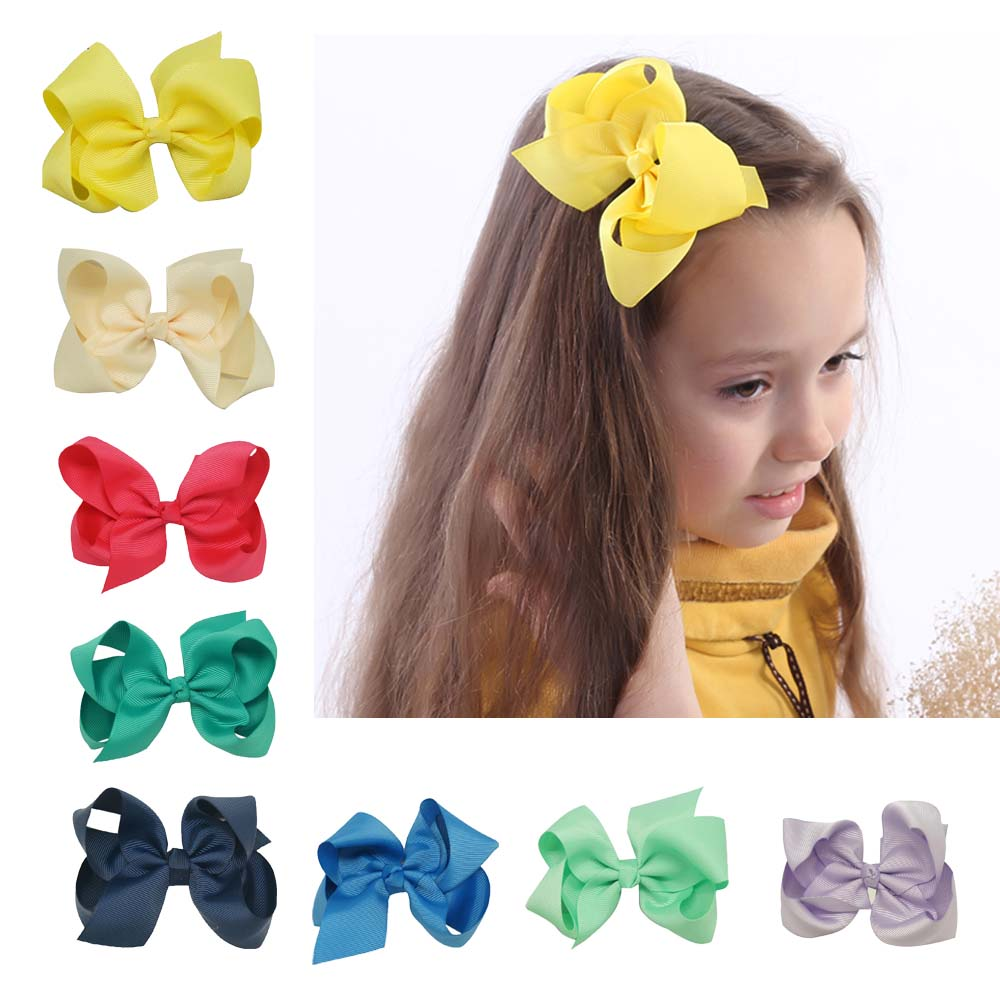 5Pcs 4 Solid Grosgrain Ribbon Hair Bow With Clips Girl Hair Bows Boutique Hair Bows For Girls Kids Hair Accessories candice guo plush toy stuffed doll cartoon gudetama lazy egg yolk car seat neck protect pillow cushion vehicle headrest 1pair