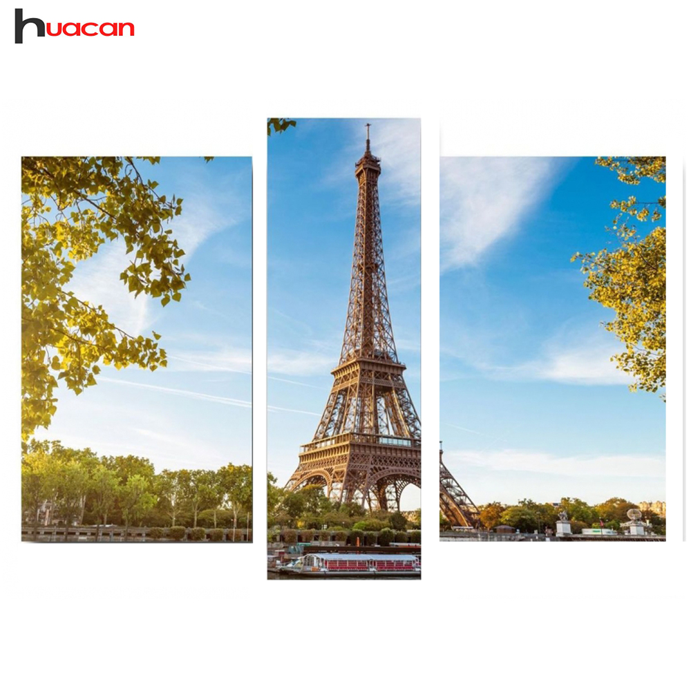 DIY 3pcs resin rhinestones mosaic diamond embroidery Eiffel Tower 5d diamond painting scenic triptych living room decoration