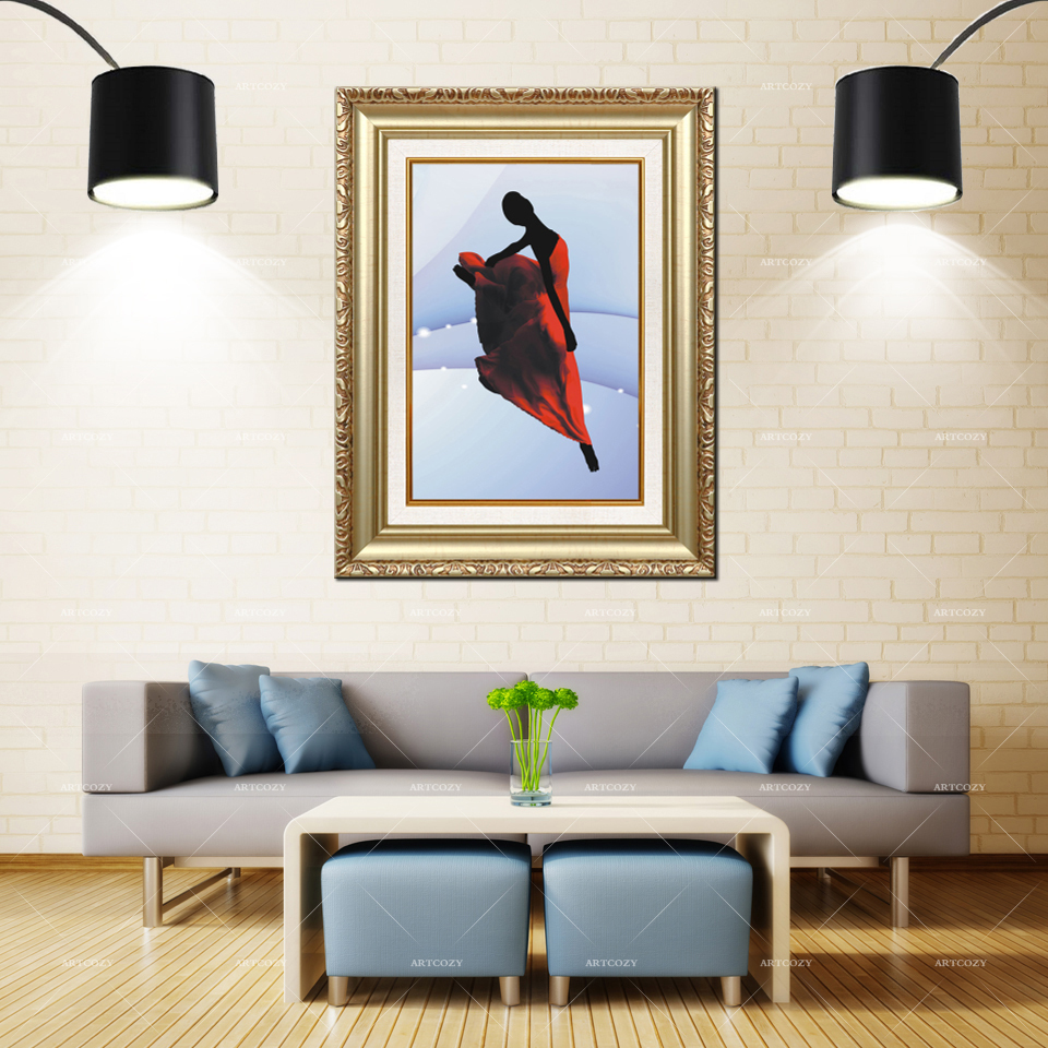 Artcozy Golden Frame Abstract Red Dress Girl Dance Waterproof Canvas Painting