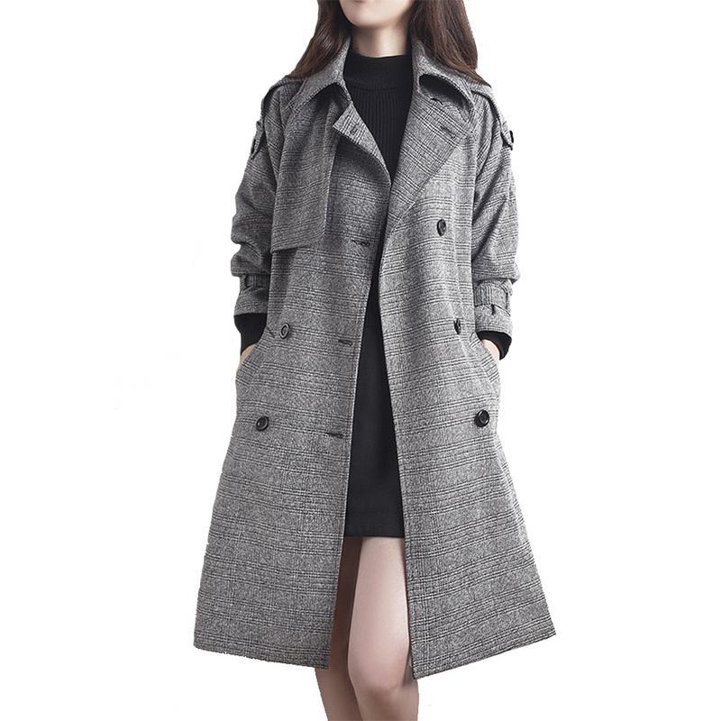 2018 Winter Fashion Winter New Woolen Medium Long Coat England Big Size   Trench   Coat Double-Breasted Plaid Female coat OL Style