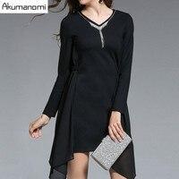 Autumn Winter Black Chiffon Patchwork Dress Pendant V-neck Pleats Irregular Hem Women's Clothes Spring Dress Plus Size 5XL 4XL-M