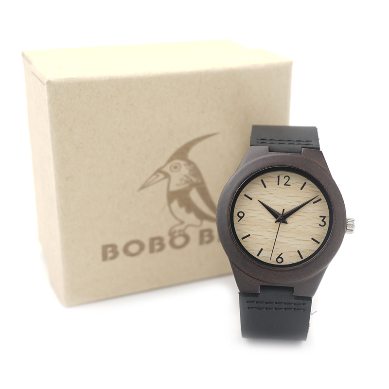 Prix pour BOBO BIRD E28 Dame Bambou En Bois Montre Femmes Top Marque De Luxe Montre À Quartz avec Bracelet En Cuir Noir 8 relogio feminino