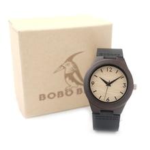 BOBO de AVES E28 Dama Reloj De Madera De Bambú Para Mujer Top Marca de Lujo de Reloj de Cuarzo con Correa de Cuero Negro 8 del relogio feminino