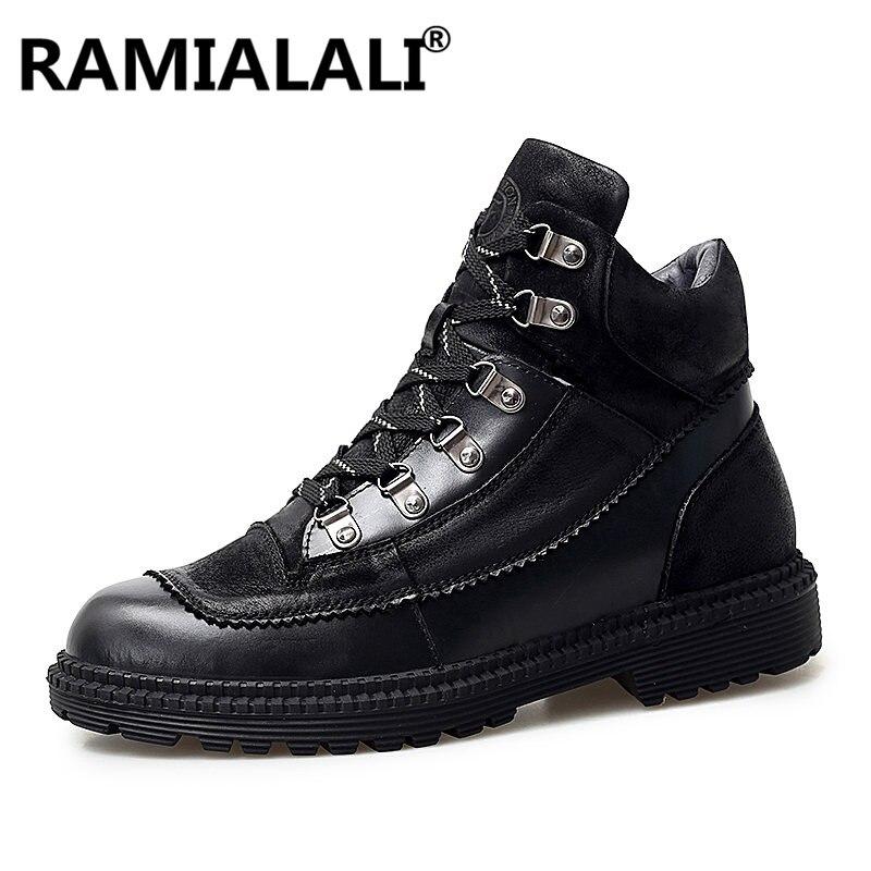 hiver Casual Chaussures Martin gris En Hommes Véritable Cheville Automne Top Tactica Cuir Noir Lacent Bottes High OqRanTxwSz