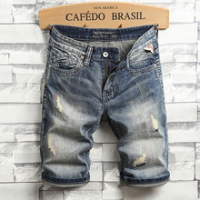 Summer Fashion Vintage Men Jeans Shorts Retro Blue Embroidery Ripped Denim Streetwear Hip Hop Short Homme