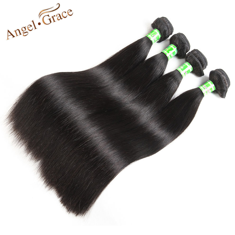 Brazilian Straight Hair Bundles Angel Grace Hair 1 PC 3 PCS 4 PCS Brazilian Hair Weave Bundles 100g Remy Human Hair Extensions