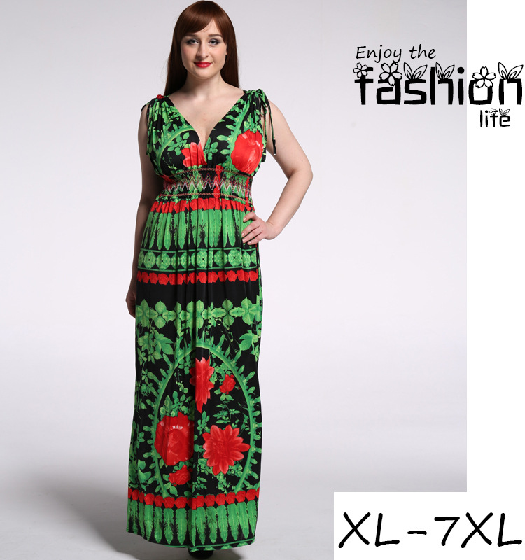 Large Size Dress Full Printing Floral Dresses Women New Deep V Dress
