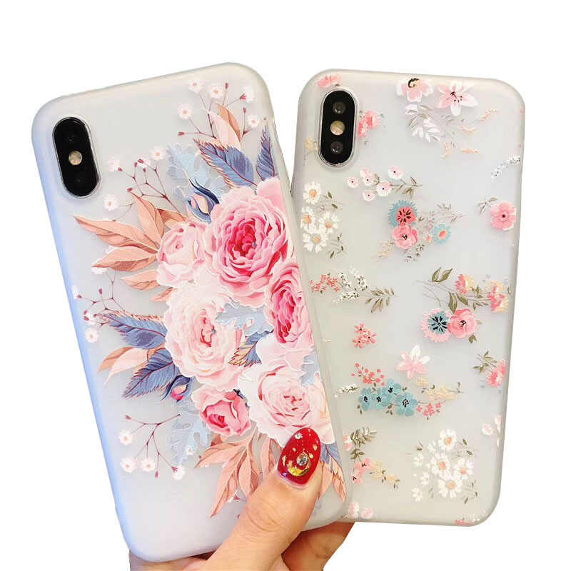 3D Relief Flower Case For on Huawei P10 P20 P30 lite Case Honor 8 8X 8C 8S 9 10 lite 20 Nova 2i 3 3i Soft Silicone Case Coque