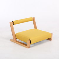 Wood Floor Japanese Zaisu Meditation Chair with Back Support Asia Japan Traditional Tatami Floor Legless Chair Seating Cushions