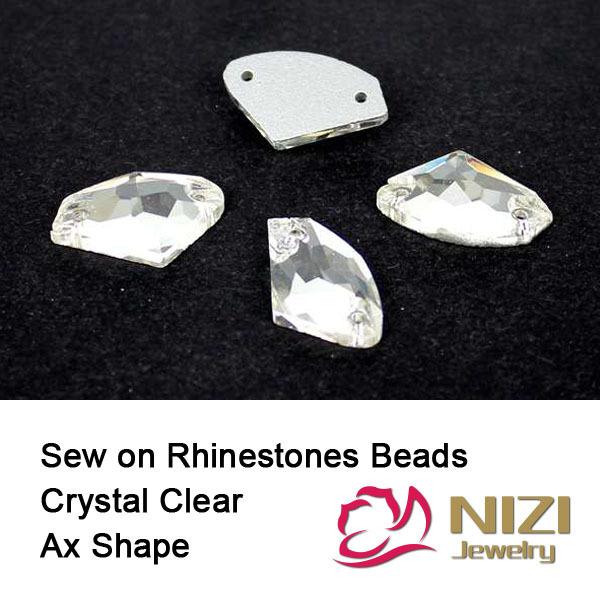 Beads DIY 8.5x14mm 11.5x19mm 16x27mm Ax Forma Crystal Clear Natator Grânulos de vidro Costurar Em Grânulos de DIY Para O Vestuário de Alto Brilho contas