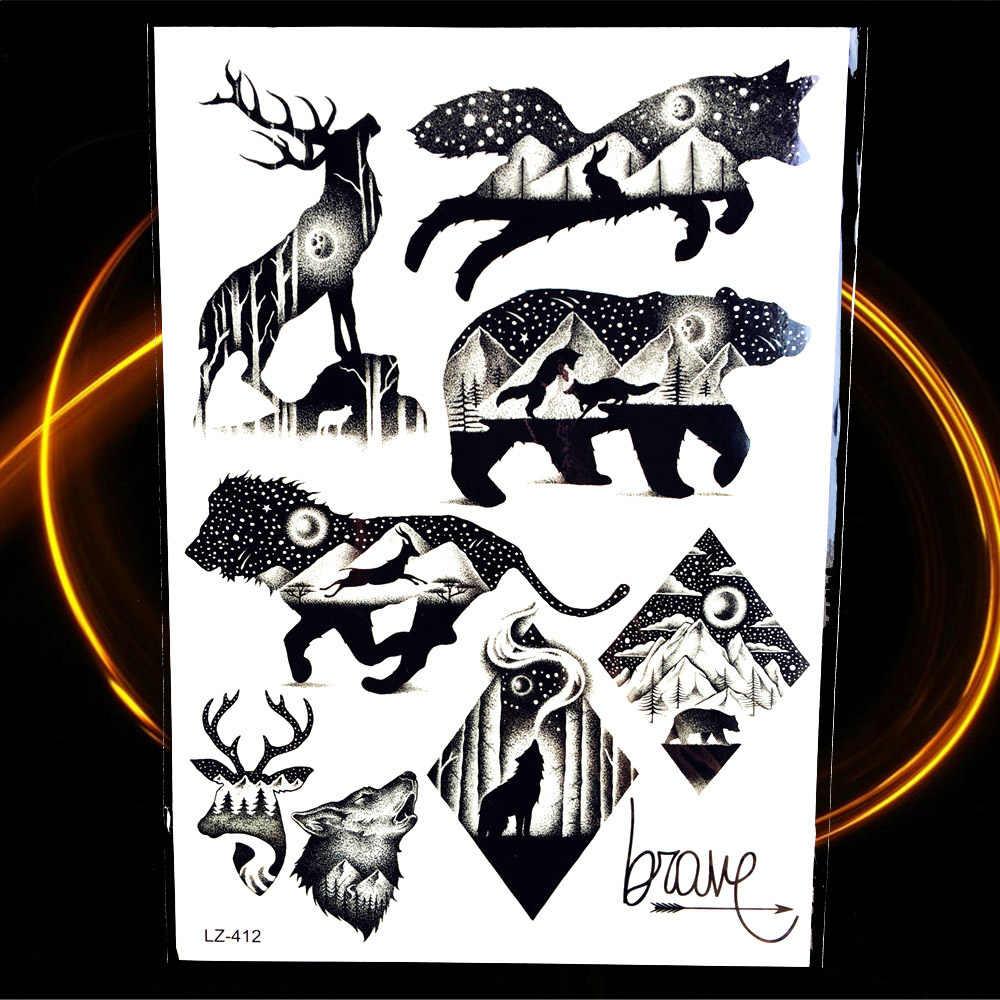 Временная татуировка для мужчин, черная Татуировка воина