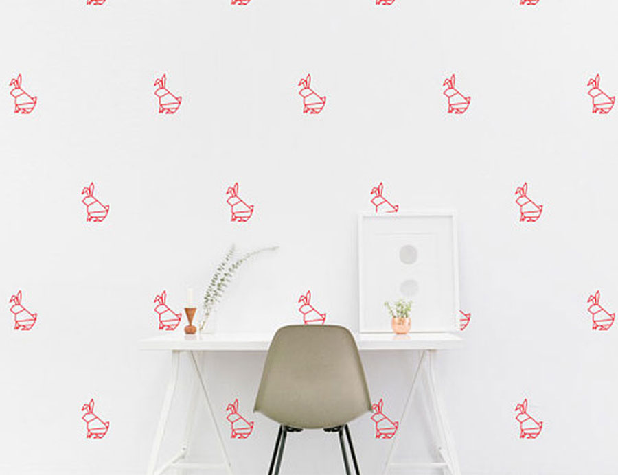 Us 7 53 15 Off Origami Rabbit Geometry Animal Wall Sticker Vinyl Home Decor Kids Room Nursery Decoration Wallpaper Diy Self Adhesive Mural Nr25 In