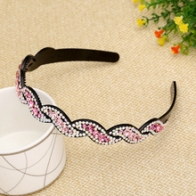 Korean Colorful Rhinestone Toothed Headband Toughness Plastic Clamping Hair Accessories for Girls Angel Costume  Bow