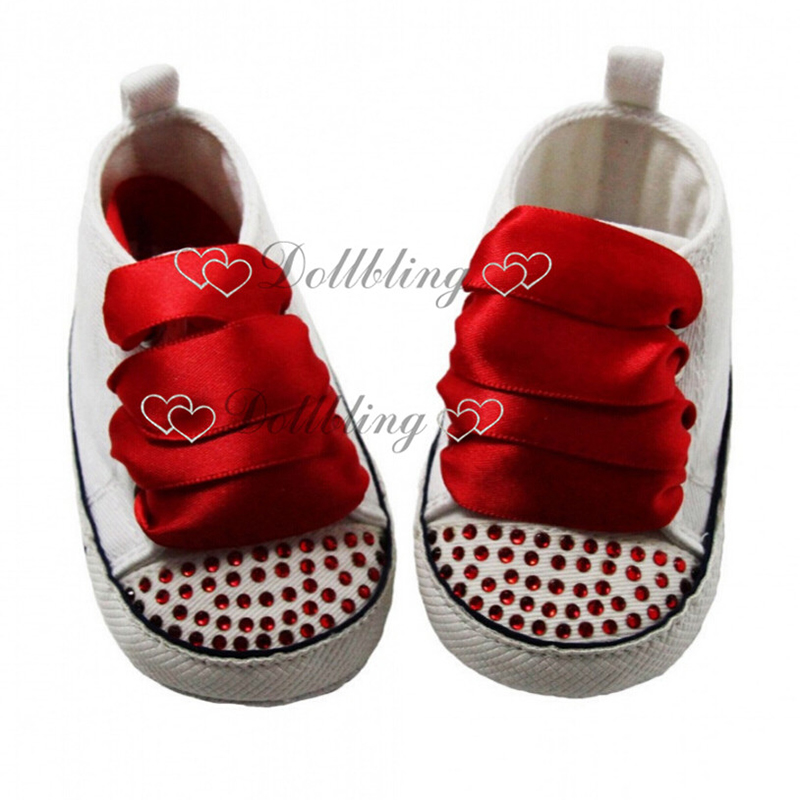 Dollbling Newborn Baby Shoes Red Rhinestons Custom Glitters Bridal Sapatos Luxury Brand Ballerina DIY 0-1Y Lacing Baby Shoes
