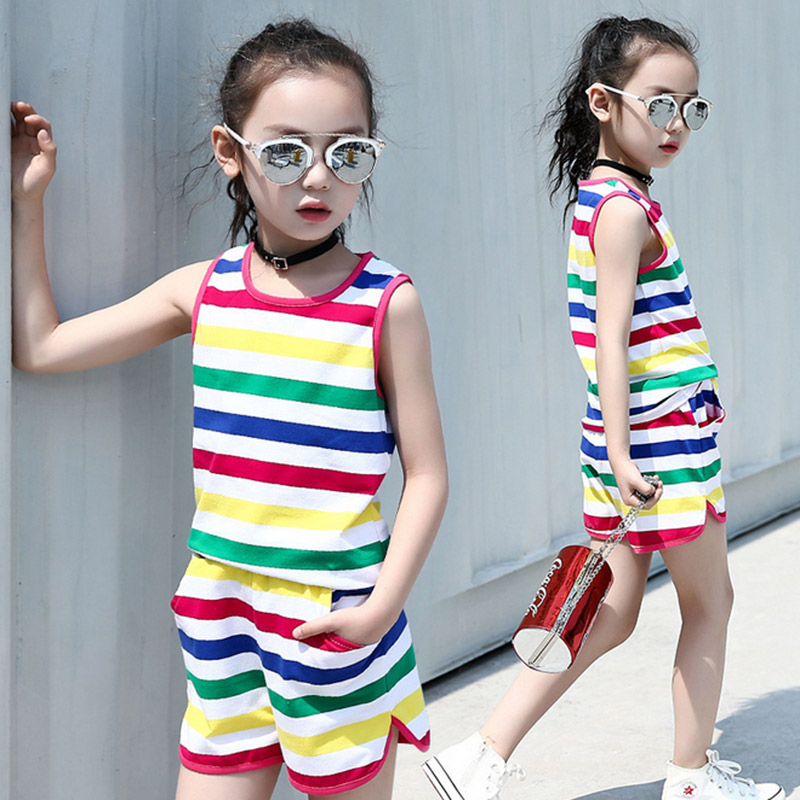 Baby girls clothes toddler 2017 new summer casual 2pcs stripe clothes sets Vest + shorts children clothing 3 4 6 10 12 years old 2017 new pattern small children s garment baby twinset summer motion leisure time digital vest shorts basketball suit