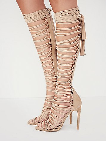 hot selling nude suede lace-up knee high sandal boots for woman 2018 summer sexy open toe tassel gladiator sandal high heel shoe