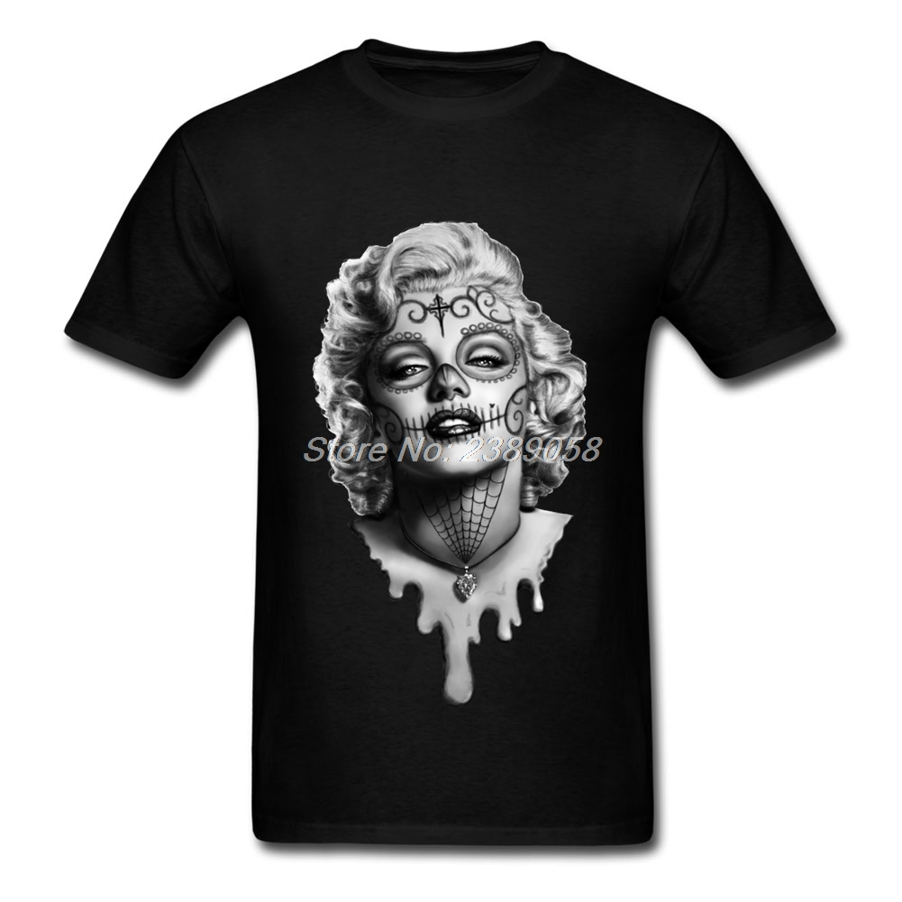 Cool Men tshirt Latest Sugar Skull t-shirt Short Sleeve Marilyn Monroe T Shirt Men Cotton
