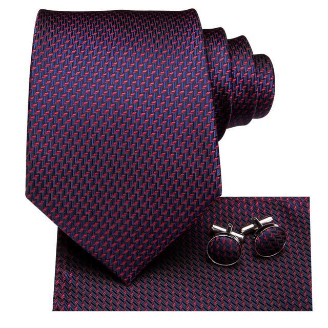 C-3123 Hi-Tie Silk Men Tie Purple Necktie Handkerchief Cufflinks Set Fashion Men's Classic Party Wedding Tie Set 8.5cm wide 1