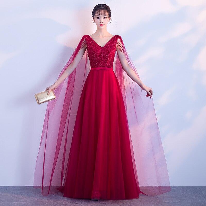 2019 Formal   Prom   Gown vestido de noite A-line Party   Dress   V-neck Long   Prom     Dress