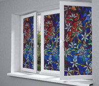 Glass Window Privacy Film Textured Floral Security Static Cling Home Garden Decorative Film 36.2''x39.37''(92cm x 100cm)