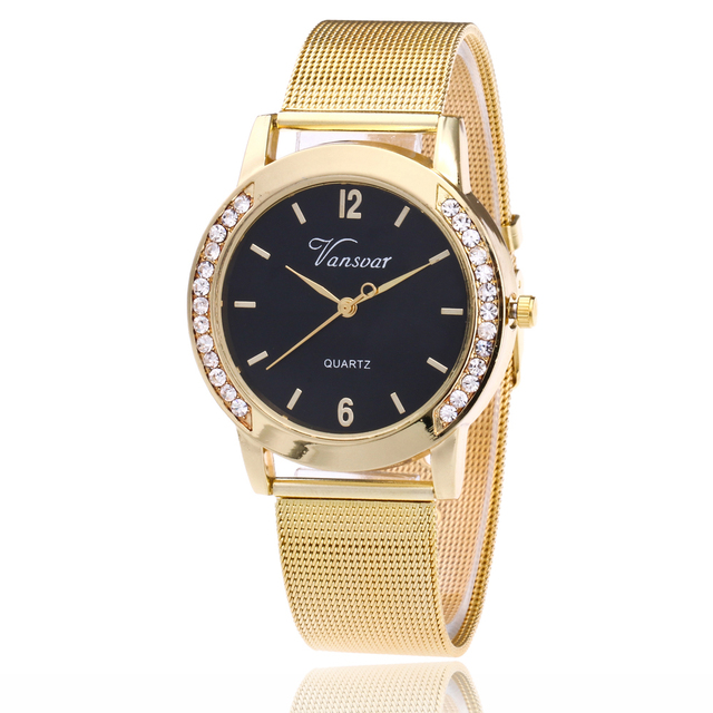 Vansvar Brand Fashion Gold Mesh Quartz Watch Women Metal Stainless Steel Dress W