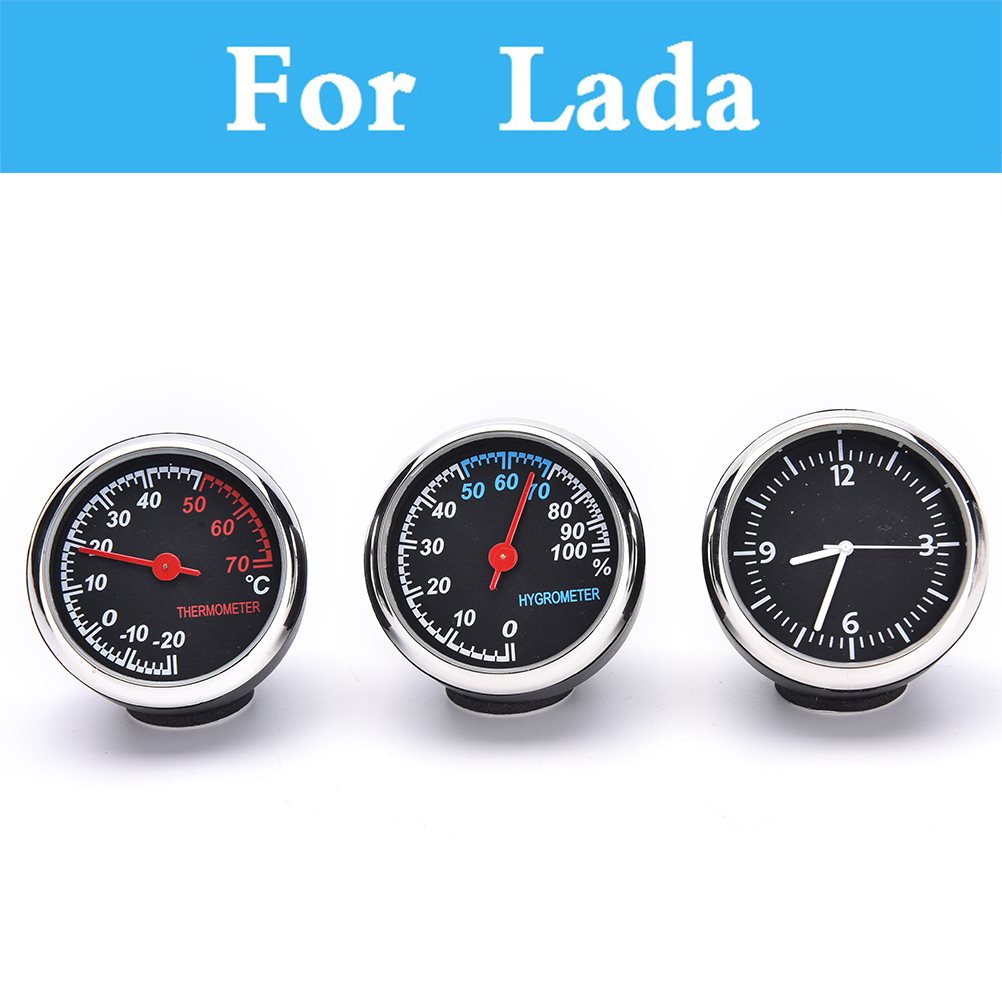 Car Digital Thermometer Hygrometer Mechanical Round Quartz Clock For Lada 1111 Oka 2105 2106 2107 2109 2110 2112 <font><b>2113</b></font> 2114 2115 image