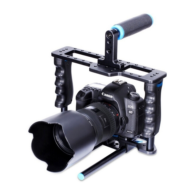 PULUZ Handheld Aluminum Alloy Rail 15mm Rod DSLR Rig Video Camera Cage Rail With Top Handle Grip For Canon Nikon Olympus DSLR aluminum dslr camera cage kit support for canon 5d mark ii 7d 60d 15mm rod rig