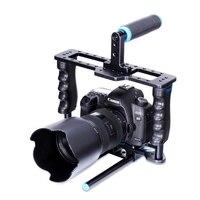 PULUZ Handheld-aluminiumlegierung Schiene 15mm Rod DSLR Rig Videokamera käfig Schiene Mit Top Handgriff Für Canon Nikon Olympus DSLR