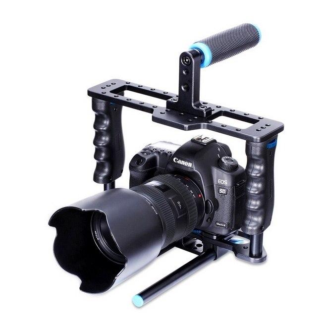Rail en alliage d'aluminium portable PULUZ 15mm tige DSLR plate-forme caméra vidéo Cage Rail avec poignée supérieure pour Canon Nikon Olympus DSLR