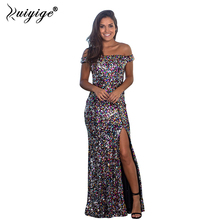 33e902aa2e Ruiyige Off Shoulder Gold Maxi Dress 2019 Sequin Bodycon Dress Sexy dresses  Vestido