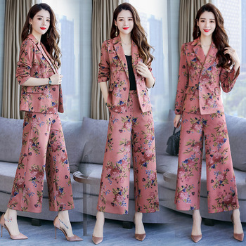 Women's suit women's casual print suit two-piece suit (coat + pants) spring and autumn new fashion loose thin dress