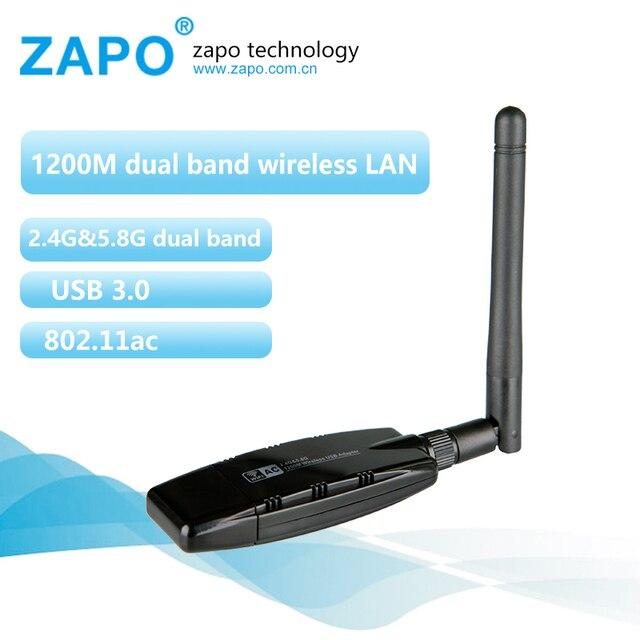 ZAPO 1200Mbps 802.11b / g / n / ac 2.4GHz -5.8GHz USB 3.0 antena wifi receptor dongle rede sem fio adaptador de cartão antena wi fi Novo
