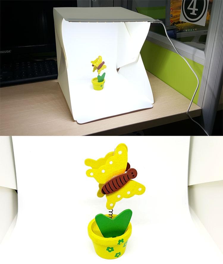 NEW Photo Studio Accessories Mini Folding Studio Diffuse Soft Box With LED Light Black White Background