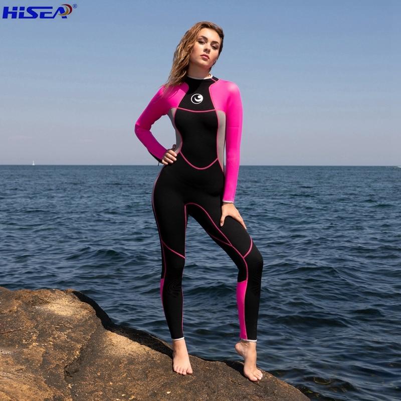 68055187525a Hisea mujeres de 3mm de calidad de neopreno profesional de una pieza  Wetsuits termal buceo Spearfishing surf Delgado body completo