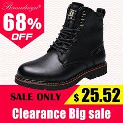 BIMUDUIYU marka taktyczne wodoodporne buty zimowe mężczyźni w stylu Vintage skórzane motocyklowe kostki męskie ciepłe buty na śnieg skórzane buty mężczyzn boots men boots leatherboots boots -