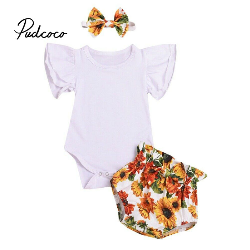 0 1 2 Years Toddler Kids Baby Girls Birthday Clothes Set Summer Rompers Tops + Shorts Pants Cute Lovely Sweet Streetwear Outfits