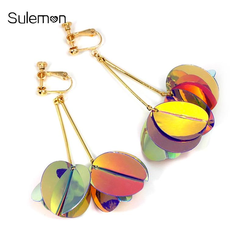 Coloured Sequins Clip Earrings No Hole Ear Clip Geometry Round Sequins Tassel Earring Women Statement Long Earring Jewelry CE280