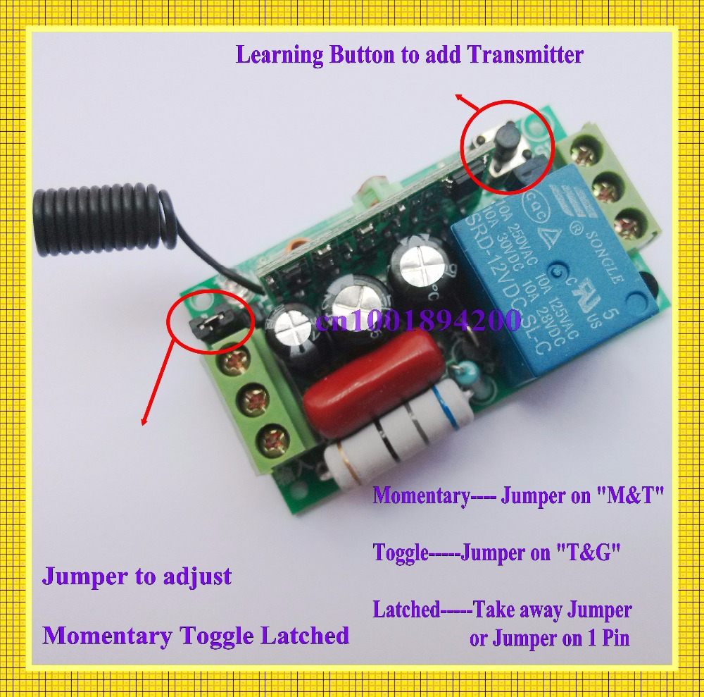 lighting switch remote control switch 220v ac 1ch 10a relay receiverlighting switch remote control switch 220v ac 1ch 10a relay receiver transmitter learing code toggle momentary 315 433mhz remote in switches from lights