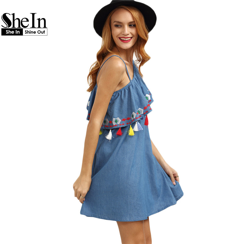 6777516011 SheIn New Fashion Women Summer Boho Dresses Blue One Shoulder Sleeveless  Ruffle Tassel Embroidered Cute Shift Dress-in Dresses from Women's Clothing  & ...