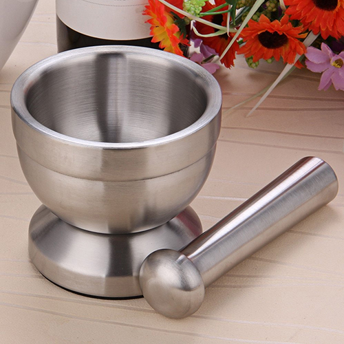Stainless Steel Mortar Bowl Pestle Garlic Press Pot Herb Mill Mincer Grinder