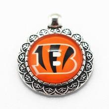 Wholesole Alloy Glass Pendant 10pcs/lot Cincinnati Bengals Football Sports Team Dangle Charms Fit Necklace Bracelet DIY Jewelry
