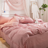 Summer throw Quilts fresh pink patchwork quilt stitching small balls duvet 1pc soft bedspread solid bed cover cotton