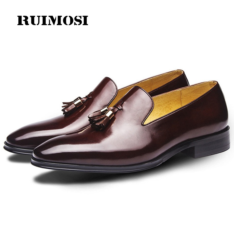 RUIMOSI High Quality Luxury Man Casual Shoes Genuine Leather Height Increasing Loafers Pointed Toe Men's Bridal Footwear GD71
